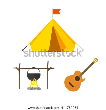 Camping equipment vector set isolated on white background, camping icons flat style, camping tent, campfire cauldron, camp fire cartoon illustration design - stock vector