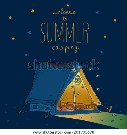 Camping. Extreme sport tent. Vector illustration