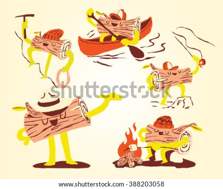 Camping, fishing, kayaking, hiking equipment, roasting marshmallows on campfire - icon set and info graphics - stock vector