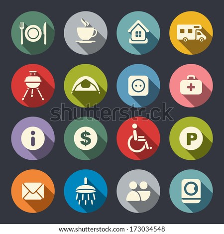 Camping flat icons - stock vector