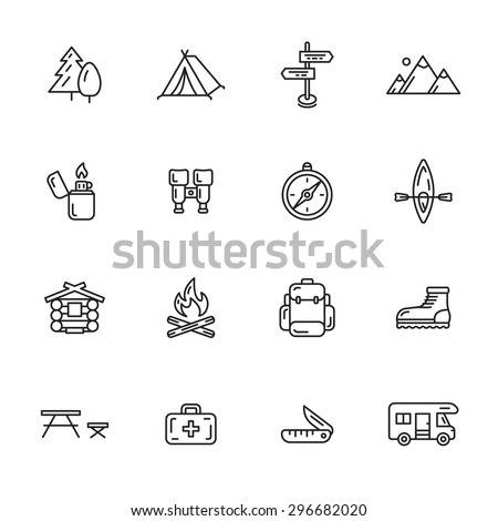 Camping, hiking and outdoor thin line icons