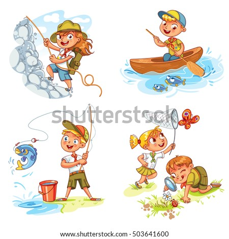 Camping, hiking equipment, fishing, kayaking, rock climbing, study of wildlife, to catch a butterfly with the help of a net. Vector illustration. Funny cartoon character. Isolated on white background