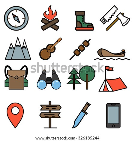 Camping, Hiking, Nature & Outdoor Activities outline icons - stock vector
