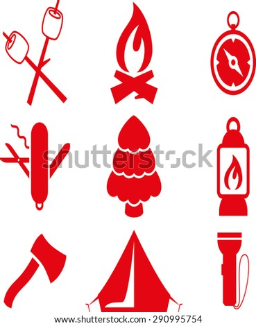 camping holiday icons logo silhouettes on white background - stock vector