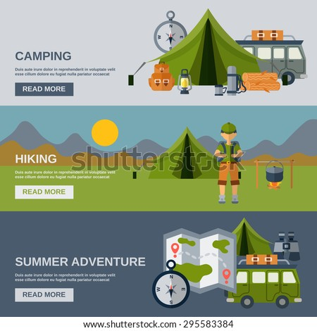 Camping horizontal banner set with hiking and summer adventure flat elements isolated vector illustration - stock vector