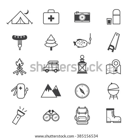 Camping Icons Line - stock vector