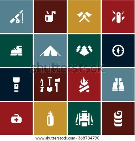 Camping icons set. Camping equipment. - stock vector