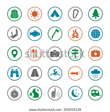 Camping icons set. Survival and traveling silhouette color vector symbols isolated on white