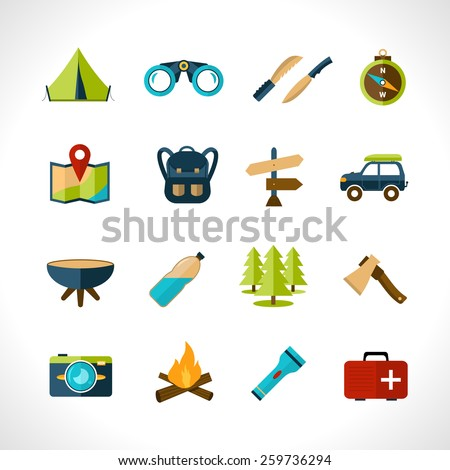 Camping icons set with tent binoculars knife compass isolated vector illustration - stock vector