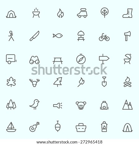 camping icons, simple and thin line design - stock vector
