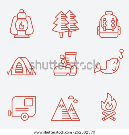 Camping icons, thin line style, flat design - stock vector