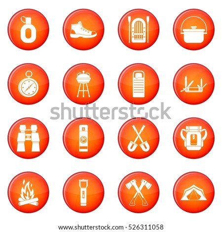Camping icons vector set of red circles isolated on white background