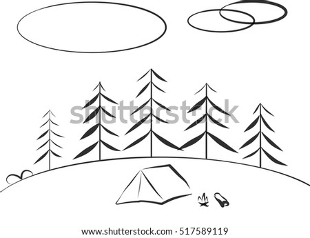 Camping In Fir Forest With Tent And Campfire Vector Trees Landscape Background Freehand Drawing
