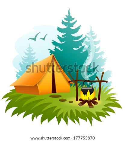 Camping in forest with tent and campfire. Eps10 vector illustration. Isolated on white background - stock vector