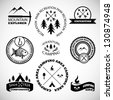 Camping labels set. - stock vector