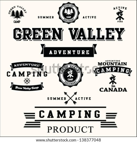 Camping labels set.valley vector set.adventure camping set. - stock vector
