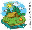 Camping landscape (color version) - stock vector