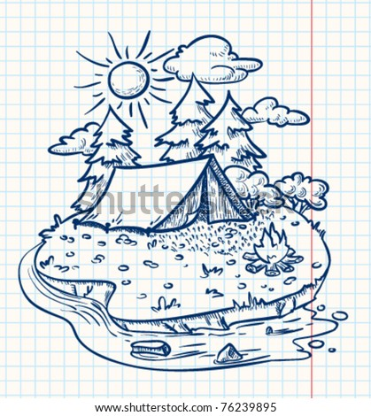 Camping landscape (doodle version) - stock vector