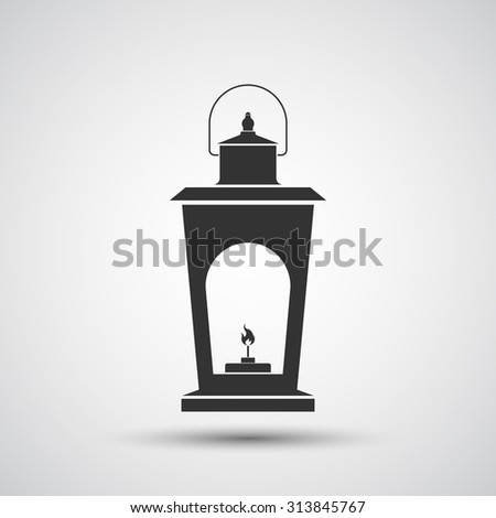 Camping lantern icon on gray gradient background, flat design style. Vector illustration eps 10.