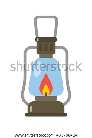 Camping lantern vector icon. Single tourist lamp isolated on white background. Hiking light pictogram for website and internet. - stock vector