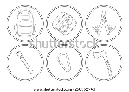Camping linear icons set. Backpack, canned food, multi tool, flashlight, carabiner, ax. Vector clip art illustrations isolated on white