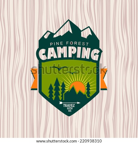 Camping logo, label and badge. Travel emblem - stock vector