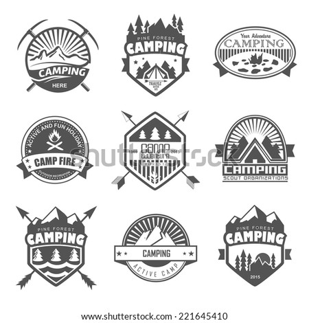 Camping logo, labels and badges. Travel emblems - stock vector