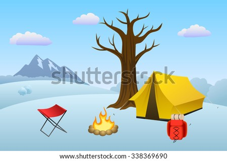 Camping meadow winter landscape day tent campfire tree illustration vector - stock vector