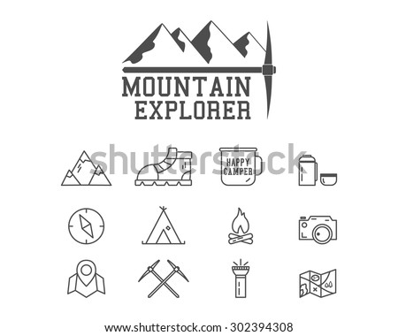 Camping mountain explorer camp badge, logo template. Travel, hiking, climbing line icons. Thin and outline design. Outdoor. Best for adventure sites, travel magazine etc. On white background. Vector - stock vector