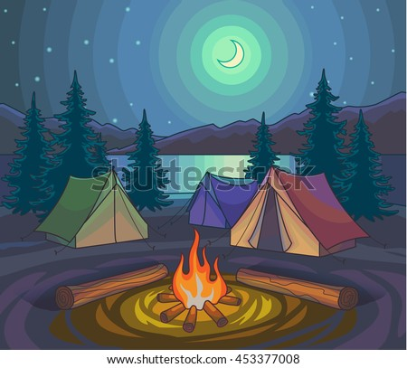 Camping night with tents and bonfire under moonlight. Hiking outdoor recreation, adventures in nature. Evening camp. Night Nature Scene. Cartoon Style. Vector Illustration. - stock vector