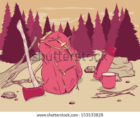 Camping objects in the woods - stock vector