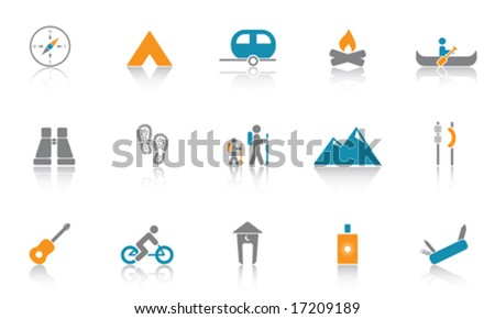Camping / Outdoor Icon Set - Blue version - stock vector