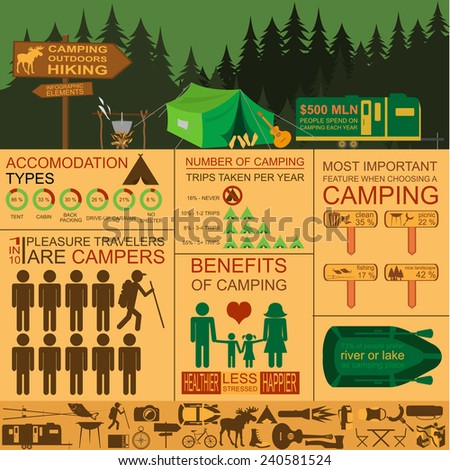 Camping outdoors hiking infographics. Set elements for creating your own infographics. Vector illustration - stock vector