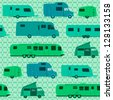Camping Pattern - Caravans and Motorhomes as a pattern background or wrapping - stock photo