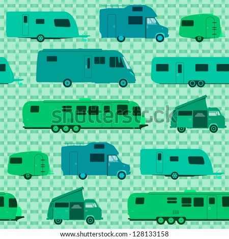 Camping Pattern - Caravans and Motorhomes as a pattern background or wrapping - stock vector