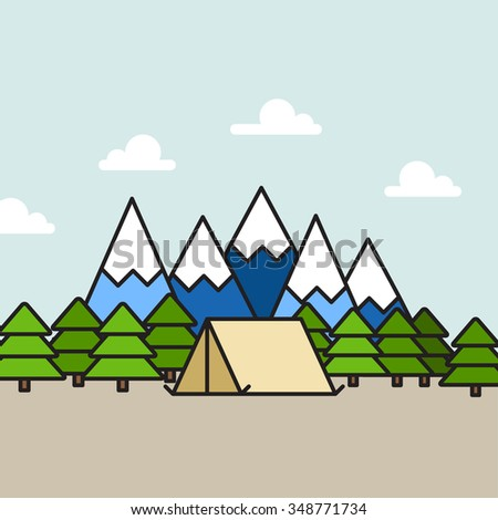 Camping Scene in Mountains: camping tent and trees, mountain and clear sky on background - stock vector