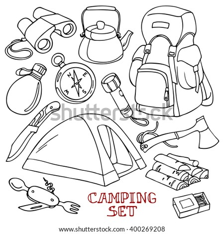 Camping set: tent, knife, Swiss Army knife, flashlight, compass, water bottle, binoculars, kettle, backpack, axe, firewood, matches. Hand-drawn design elements.