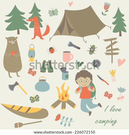 Camping set with all necessary attributes required for camping.  - stock vector