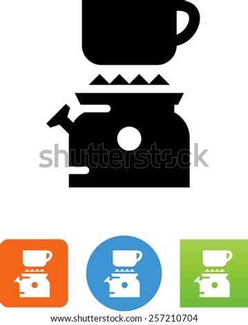 Camping stove with cup. Vector icons for video, mobile apps, Web sites and print projects.