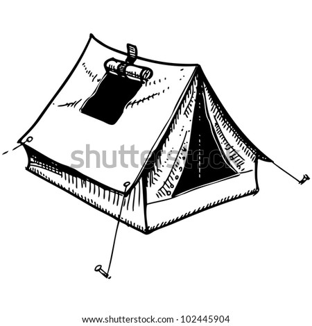 Camping tent. Hand drawing sketch vector illustration - stock vector