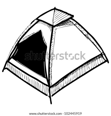 Camping Tent Hand Drawing Sketch Vector Illustration