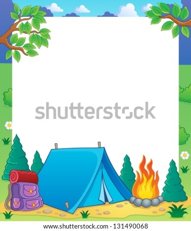 Camping theme frame 1 - vector illustration. - stock vector