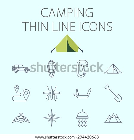 Camping thin line vector icon for web and mobile applications. Set includes - offroad car, sleeping bag, carabiner, tent, mosquito, map pin, penknife, shovel, shower, wind rose, mountains. - stock vector
