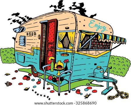 Camping Trailer Retro Style