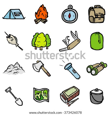 camping travel objects or icons set/ cartoon vector and illustration, hand drawn style, isolated on white background. - stock vector