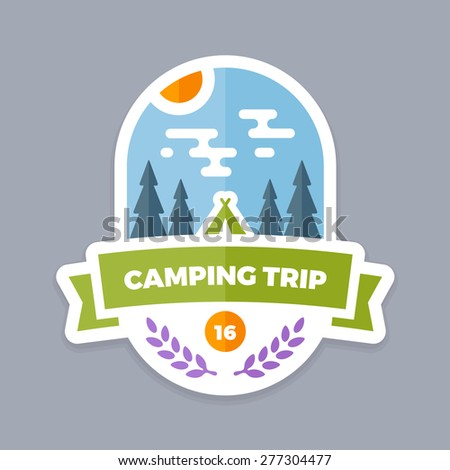 Camping trip emblem logo with banner and tent