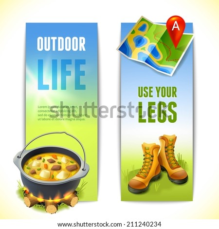 Camping use your legs outdoor life vertical banners set isolated vector illustration - stock vector