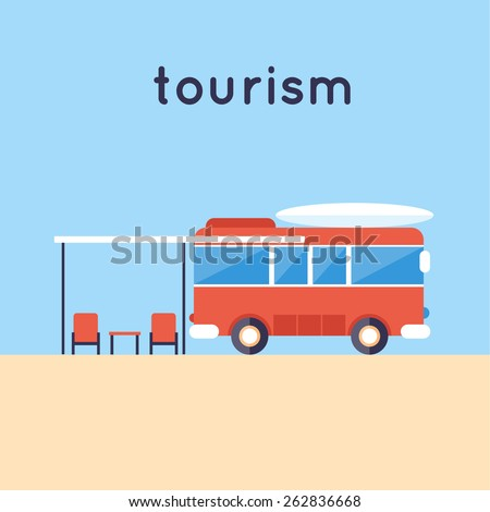 Camping van. Travel camping. Summer vacation, traveling, beach recreation, surfing, lifestyle. Flat vector illustration.