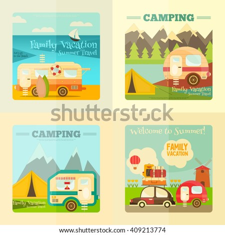 Camping with Family Trailer Caravan. Campsite Landscape with RV Traveler Truck and Tent. Outdoor Traveling Vacation. Posters Set. Vector Illustration. - stock vector