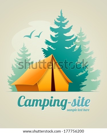 Camping with tent in forest. Eps10 vector illustration - stock vector